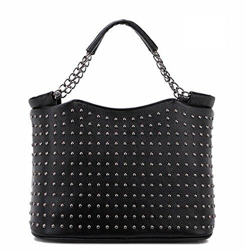 La signora YANX borse in pelle Rivetti moda signora borsa borsa a tracolla (29 * 21 * 15 cm) , black
