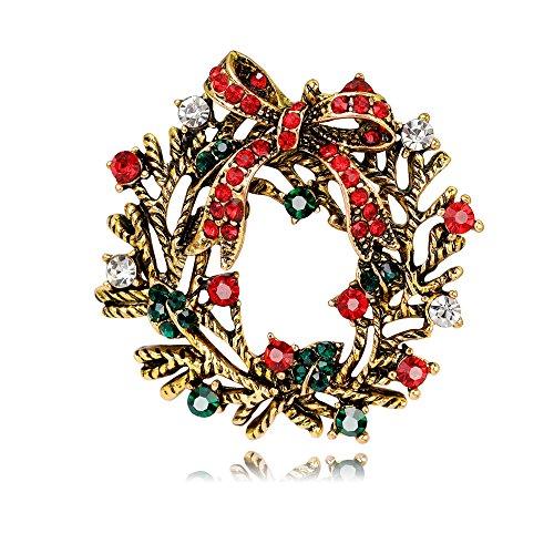en Kreis Blume Kristall Weihnachten Brosche Xmas Geschenk für Weihnachtsschmuck Ornaments Geschenke (Diy-gothic-halloween-dekoration)