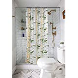 E-Retailer PVC Shower Curtain with 8 Hooks (54x78 inches/4.5x7 ft, Green)