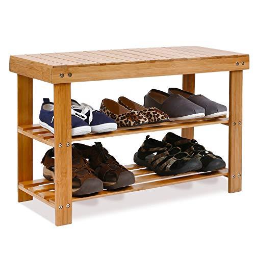 Homfa Banc à Chaussures Etagère à Chaussures Meuble de Rangement en Bambou 70×28.5×45cm (Bambou Naturel)
