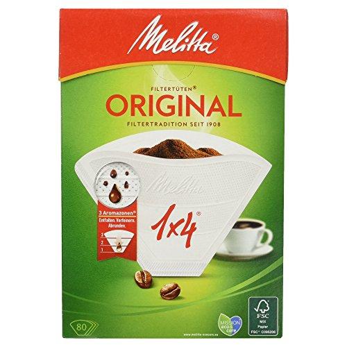 Melitta Filtertüten 1x4, 3 Aromazonen, Weiß, 80 Stück (Kaffeefilter 3 Melitta)