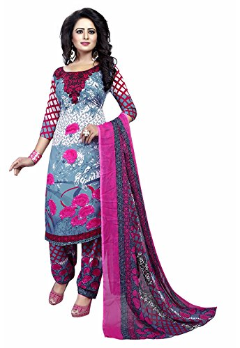 Ishin Synthetic Pink & Blue Party Wear Wedding Wear Casual Daily wear Festive Wear Bollwood New Collection Printed Latest Design Trendy Unstitched Salwar Suit Dress Material (Anarkali/Patiyala) With D