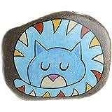 Hand-bemalter Stein zum Aufhängen mit einer Katze