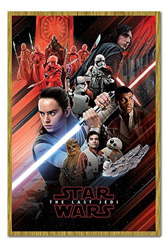 Star Wars The Last Jedi Rouge Poster pêle-mêle magnétique Tableau d'Affichage encadré de chêne – 96.5 x 66 cms (environ 96,5 x 66 cm)
