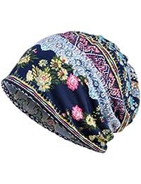 prevently marca nueva alta calidad color brillante unisex gorro de  impresión Ruffle cáncer gorro de punto bufanda cuello turbante cabeza India… 9c3e8f67070