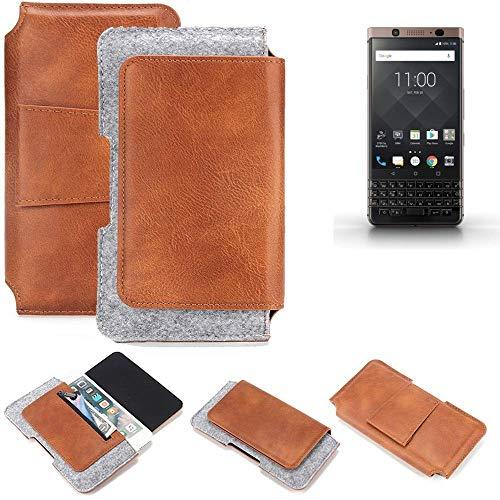 K-S-Trade BlackBerry KEYone Bronze Edition Gürteltasche Schutz Hülle Gürtel Tasche Schutzhülle Handy Smartphone Tasche Handyhülle PU + Filz, braun (1x)