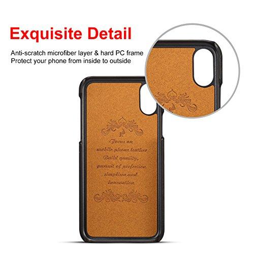 Apple iPhone X Hülle mit Kartenhalter, 2 Kreditkarten-ID-Kartensteckplätze, Ultra-dünner schützender Telefonkasten für iPhone X - Grau Schwarz