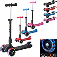 iScoot Blaze© Light Weight 3 Wheel Tilt and Turn Folding Kick Scooter with LED Light Up Wheels T-Bar Bobbi Board for Boys / Girls / Children / Kids - Ages 5-12 - Pink