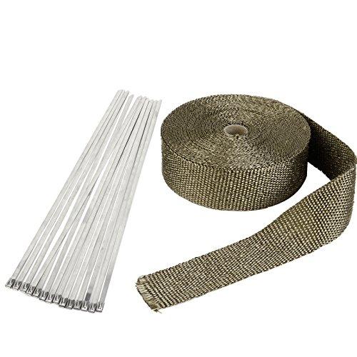 Hitzeschutzband Basaltfaser Auspuffband 15M mit 15X Kabelbinder fuer Faecherkruemmer Thermoband Kruemmerband