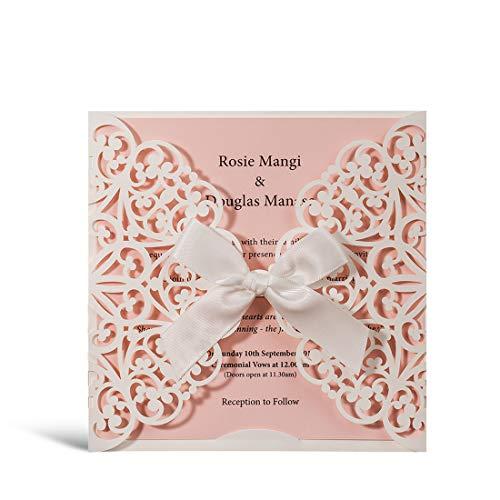 Jofanza Einladungskarten Für Hochzeit Geburtstag Taufe Weiß Blumen Lasercut Design Mit Seidenband Schleife Set 50 Stücke inkl Umschläge und Aufkleber