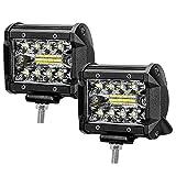 ZREE Foco Led para vehículo, tamaño 4 Pulgadas, 2 piezas de 120W, Focos para Coche 12v valido como Luz de Niebla IP67 Para SUV, ATV, Barco, etc. [Clase de Eficiencia Energética A +