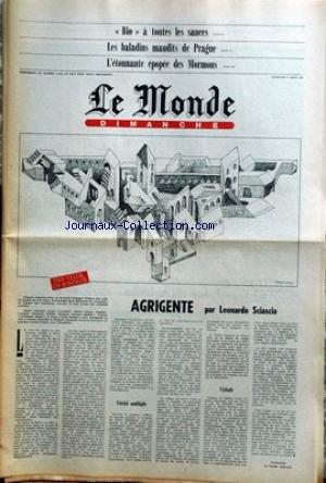 MONDE DIMANCHE (LE) du 02/08/1980 - BIO A TOUTES LES SAUCES - LES BALADINS MAUDITS DE PRAGUE - L'EPOPEE DES MORONS - AGRIGENTE PAR L. SCIASCIA. par Collectif
