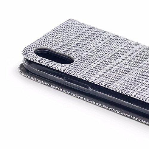 EKINHUI Case Cover Mischfarben Canvas Jeans Stoff Textur PU Leder weich TPU Rückentasche mit Kickstand und Card Slots für iPhone X Edition ( Color : White ) White