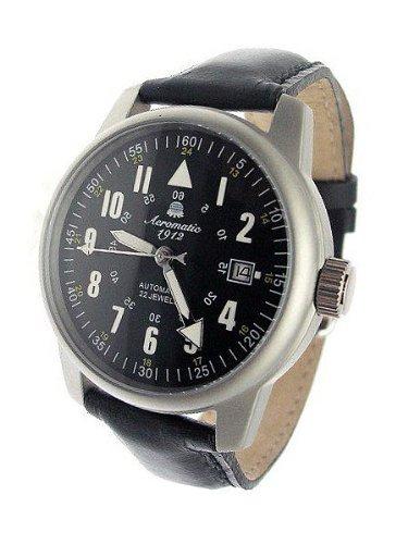 Aeromatic 1912 A1027Black - Reloj para hombres, correa de cuero
