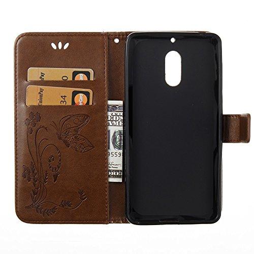 EKINHUI Case Cover Horizontale Folio Flip Stand Muster PU Leder Geldbörse Tasche Tasche mit geprägten Blumen & Lanyard & Card Slots für Nokia 6 (N6) ( Color : Coffee ) Coffee