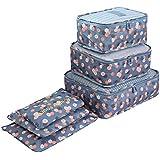 مجموعة حقائب منظمة للسفر من 6/قطع، حقيبة منفصلة وحاوية تخزين، حقيبة للملابس ومنظم اغراض حقيبة الغسيل والاغراض الشخصية
