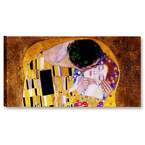 Quadri L&C ITALIA Klimt Il Bacio | Quadro Moderno Stampa Tela Canvas Made in Italy 90 x 45 cm XXL | Riproduzione Arte Gustav Salotto, Soggiorno, Camera Letto, Cucina