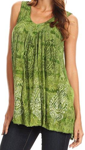 Sakkas Alyse Crinkle Tie Dye-Behälter mit Pailletten und Stickerei Grün