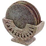 ShalinIndia Steinornament-Untersetzer mit Halterung, zeitgenössisch, Esstisch, Kaffeetisch, Couchtisch