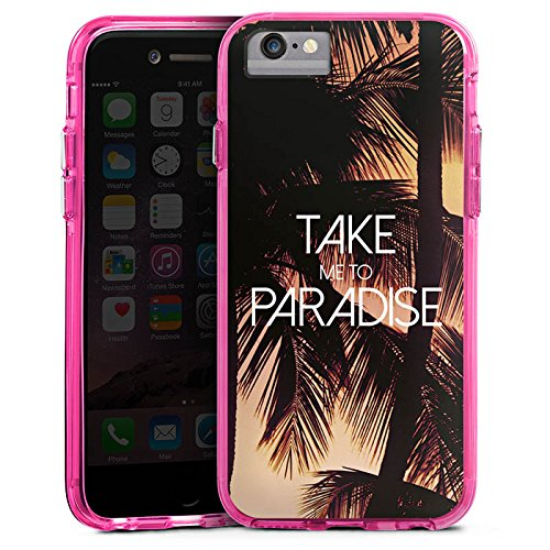 Apple iPhone 7 Bumper Hülle Bumper Case Glitzer Hülle Palmen Urlaub Summer Bumper Case transparent pink