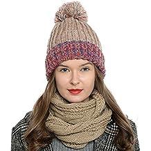 DonDon Mujer Gorro de invierno Gorro de punto forrado caliente y suave con  pompón en geniales a3e22326821