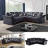 Sofas4Less * New Farrow Leder & Chenille Fabric Ecksofa in Schwarz + Grau Oder Braun *, Leder, Schwarz, Vier Sitze