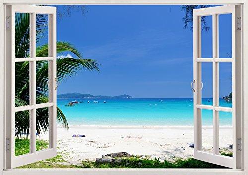 (3D-Wandbild Geöffnetes Fenster - großformatig aus hochwertigem Vinyl - wiederverwendbar - Poster Blick aus dem Fenster - Wandtattoo Wohnzimmer - 3D Fototapete Strand und Meer 85 x 115 cm)