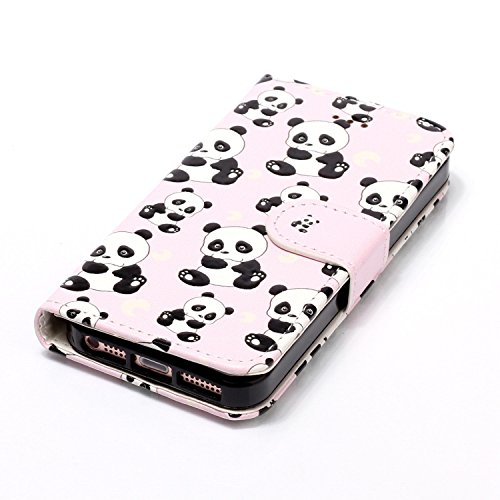 Sunroyal® Etui Housse Coque iPhone 5/5S Case Cover Simili Cuir Bling Belle Rose Pink Paillette Flip Cas Sac Shell Hull Swag avec Portefeuille Pochette Strass Fermeture Magnétique Cardslots Couvrir Rep Panda