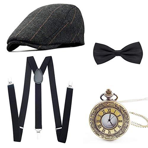 Wagoog 1920s Herren Accessoires Mafia Gatsby Kostüm Set Inklusive Panamahut Verstellbar Elastisch Hosenträger Herren Halsschleife Fliege und Vintage Taschenuhr (Mafia Kostüm Für Herren)