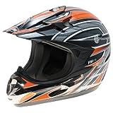 FM - Casco da Motocross, Arancione/Argento, XS