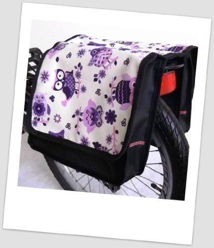 T-JOY-31 Fahrradtasche JOY OWL 4 Eule Lila Creme Kinderfahrradtasche Satteltasche Gepäckträgertasche 2 x 5 Liter KINDER