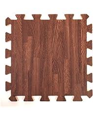 Madera Estilo de enclavamiento alfombrillas de espuma para protección del suelo - garaje - ejercicio - Yoga - sala de juegos - Eva espuma (9, baldosas, marrón)