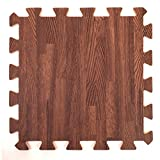 Wood Effect Interlocking Foam Mats - Perfect for Floor Protection, Garage, Exercise, Yoga, Playroom. Eva foam (9 tiles, Brown)