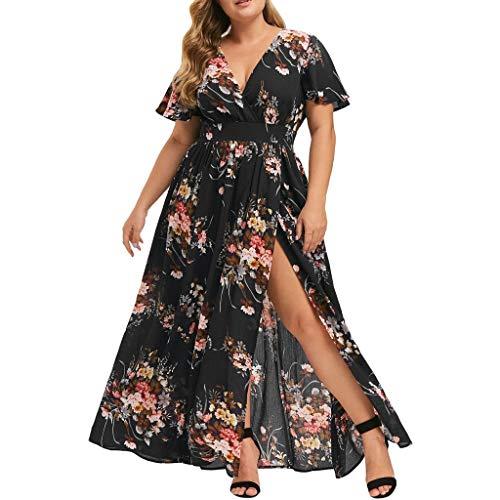 COZOCO 2019 Frauen Plus Size Swing Kleid V-Ausschnitt Blumendruck Freizeitkleid Kurzarm Boho Kleid Party Maxi Kleid - Krinoline Plus 26 Petticoat