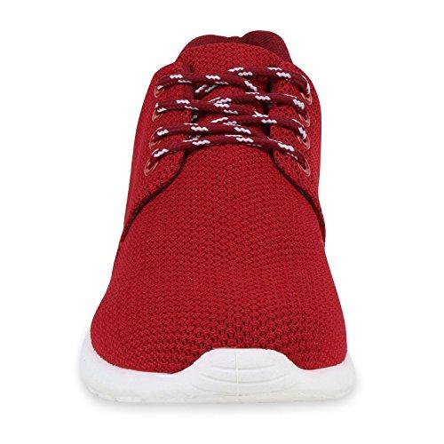 Herren Sportschuhe Muster   Laufschuhe Übergrößen   Sneakers Profilsohle   Blumen Runners Dunkelrot Brito