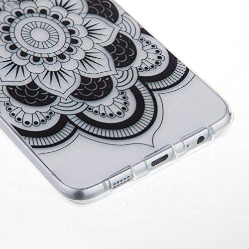 Coque iPhone 6 Plus/6S Plus Silicone [Avec Gratuit Protections D'écran],Housse iPhone 6 Plus/6S Plus Silicone,CaseHome Rétro Vintage Imprimé Motif Noir Ultra Mince Coussin D'air Cristal Clair Antichoc Fleur de Mandala