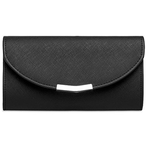 CASPAR TA360 elegante Damen Envelope Clutch Tasche/Abendtasche mit langer Kette, Farbe:schwarz;Größe:One Size (Schmuck Leder Tasche)