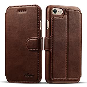 iPhone 7 Plus Leather Case, [Premium Leather] [Wallet Case] [3 Credit Card Slots] [Wallet Style] [Handmade] holder Function with Magnetic Closure for Apple iPhone 7 Plus – 2016 (Classic Brown)