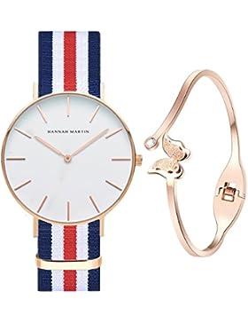 XLORDX Classic Damen Armbanduhr elegant Quarzuhr Uhr modisch Zeitloses Design klassisch Nylon Blau Weiß Rot Mit...