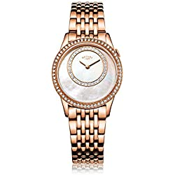 Rotary Women's Quartz Watch with Mother Of Pearl Dial Analogue Display and Rose Gold Stainless Steel Bracelet LB00654/07