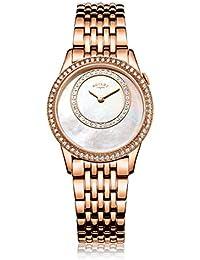 Rotary - Reloj automático para mujer, correa de acero inoxidable