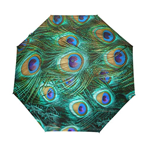 a0c5888840 Funnyy Automatic Folding Umbrella Tropical Animal Bird Peacock Feather Auto  Open Compact Portable Travel Umbrella for