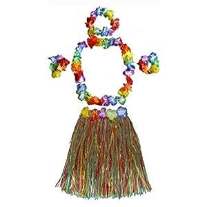 Ensemble de Bandeau Guirlande Bracelet et Jupe Hula Hawaïen Tropical pour Enfant Déguisement