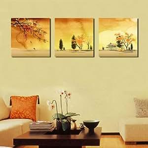 Chinoise de paysage classique Peinture Estampes toile, pret a accrocher, la maison moderne decoration murale Art Ensemble de 3 # 05-51