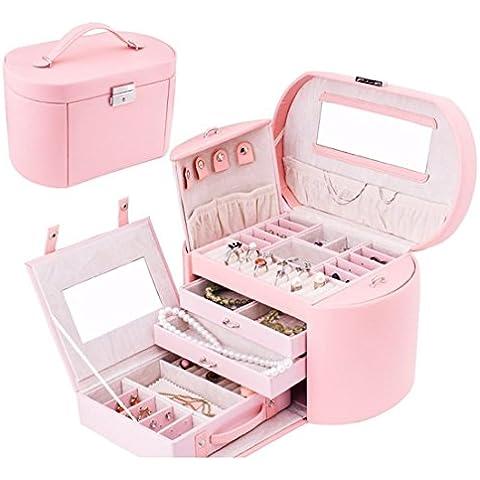 Meydlee Scatole Portagioie Top modello del coccodrillo gioielli PU Storage Box Caso Cosmetic , pink , 28*18*18