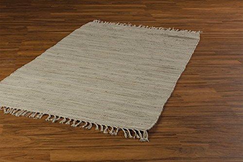 Flickenteppich Wohnzimmerteppich Handwebteppich FRANKEN Sand | 140x200 cm | Sand | Baumwolle