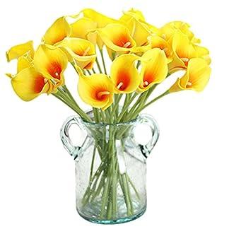 Gysad 10 Piezas Ramos de Flores Artificiales Lirio de cala Flores Artificiales Decoración Decoración creativa para el hogar(Sin maceta) size 34.5cm (Amarillo)
