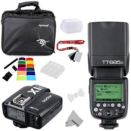 fomito Godox tt685C E-TTL II 2,4GHz Wireless Master/Externe autoflash Speedlite & x1-c Transmitter Trigger HSS für Canon EOS 750D 760D 1200D 100D 6D 70D 7D 5DIII 5DS 1DX Kameras, 580EXII 600EX Blitze