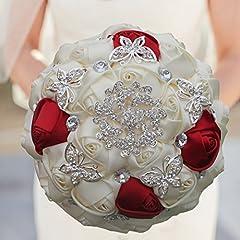 Idea Regalo - LWKBE Bouquet da Sposa, Bouquet Anniversario con Rose di Raso Artificiale Perle Gioiello, Bouquet da Sposa, Damigella d'Onore con Fiori per Matrimoni fidanzati,Milkwhite+Winered