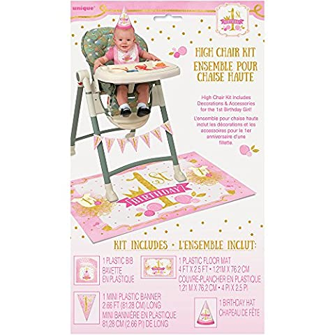 Pink and Gold Girls 1st Birthday High Chair Decoration Kit,